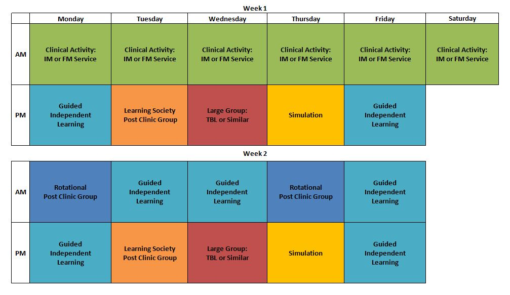 IMAGE OF WHAT TWO WEEKS DURING THE MIDDLE CLINICAL EXPERIENCE ON THE INPATIENT WARDS MIGHT LOOK LIKE SCHEDULE
