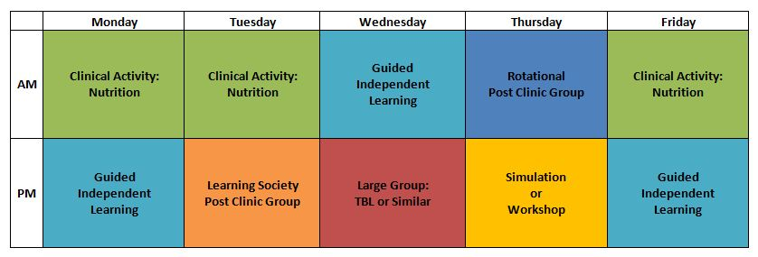 IMAGE OF A WEEK DURING THE MIDDLE CLINICAL EXPERIENCE ON THE NUTRITION CONSULTATION SERVICE MIGHT LOOK LIKE SCHEDULE